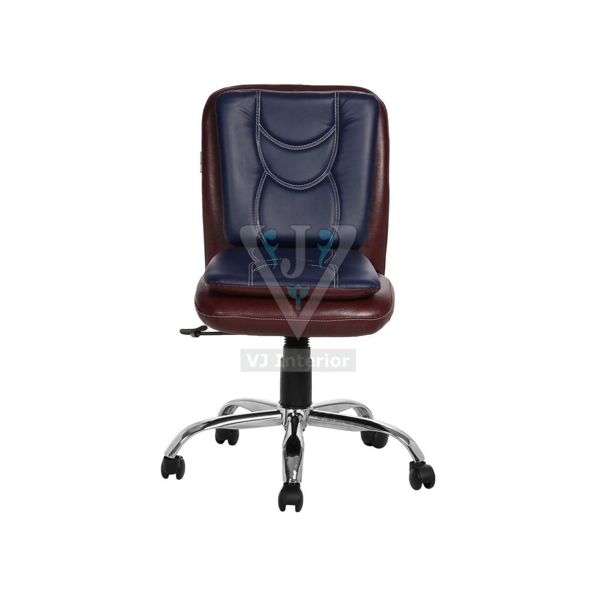 THE LIBRANEJAR LB WORKSTAION CHAIR DARK BROWN AND BLUE