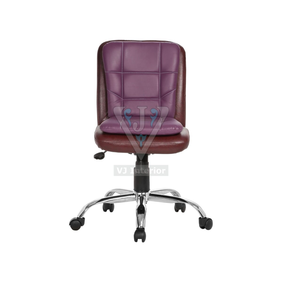 Libranejar Leather Brown And Purple Workstation Chair