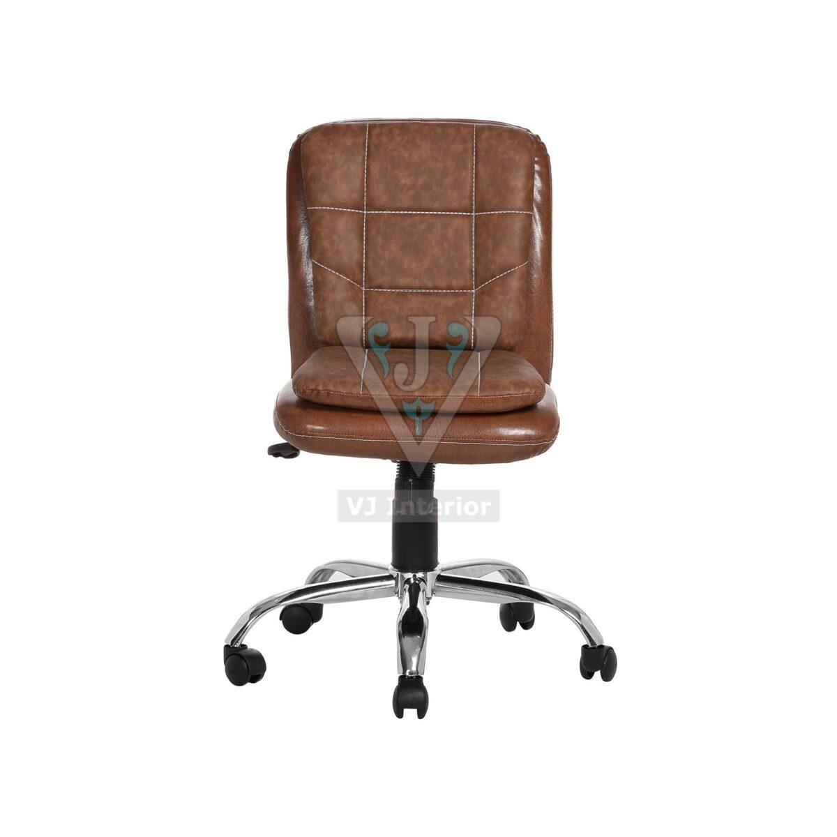 Brown Leather Libranejar Low Back Workstation Chair