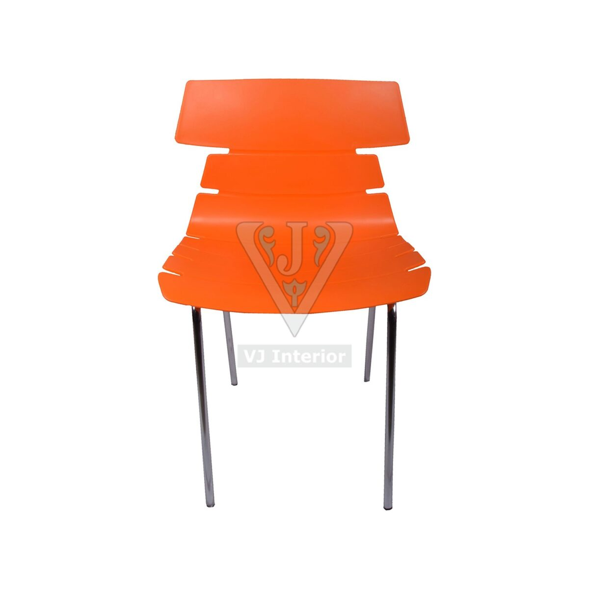 THE ALISAR STEEL FRAME PLASTIC CHAIR ORANGE