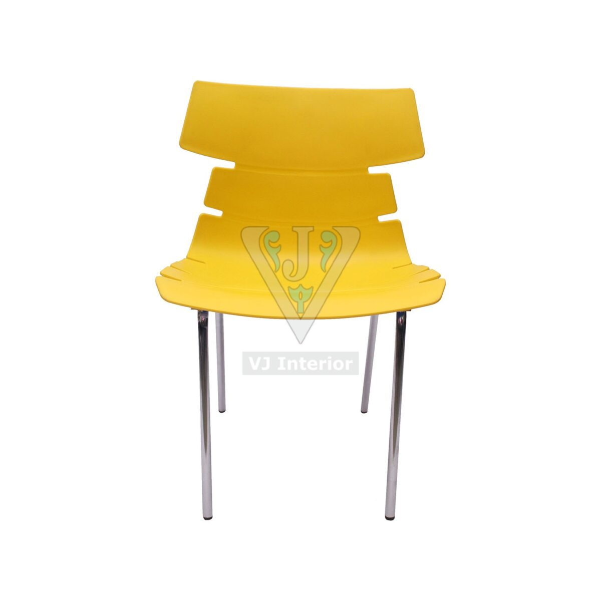 THE ALISAR STEEL FRAME PLASTIC CHAIR YELLOW