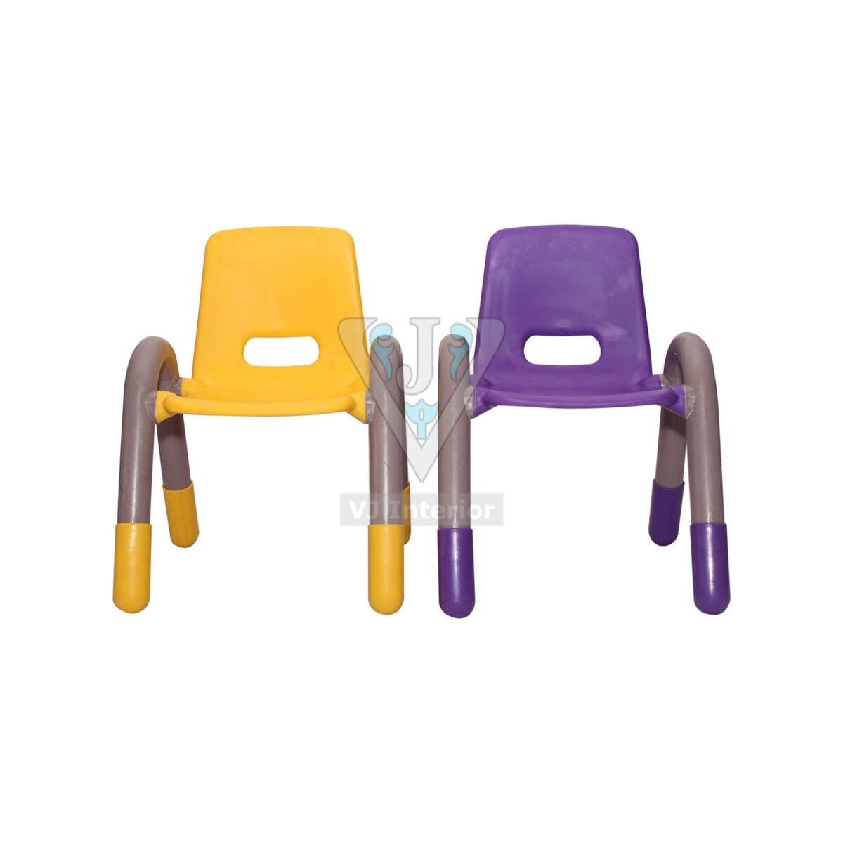 THE VOLVER ENGINEERING PLASTIC KIDS CHAIR YELLOW AND PURPLE PAIR