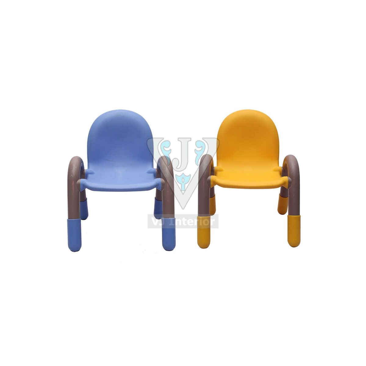 THE CHICO ENGINEERING PLASTIC KIDS CHAIR BLUE AND YELLOW PAIR