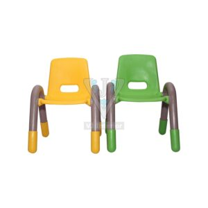 THE VOLVER ENGINEERING PLASTIC KIDS CHAIR YELLOW AND GREEN PAIR