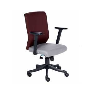 THE NOGRIS MEDIUM BACK CHAIR IN GREY AND MAROON COLOR