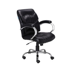 THE SIMPLEPIEL MEDIUM BACK BLACK CHAIR IN STEEL HANDLE
