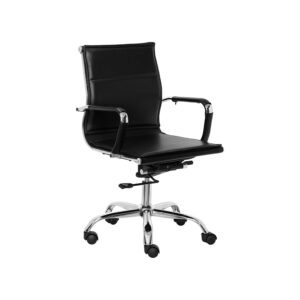 LEATHERETTE EXECUTIVE SLEEK DOUBLE CUSHIONED CHAIR IN BLACK COLOR