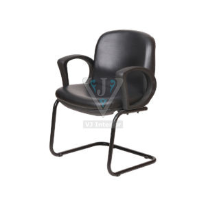 Cushioned Leather Mid Back Office Visitor Chair