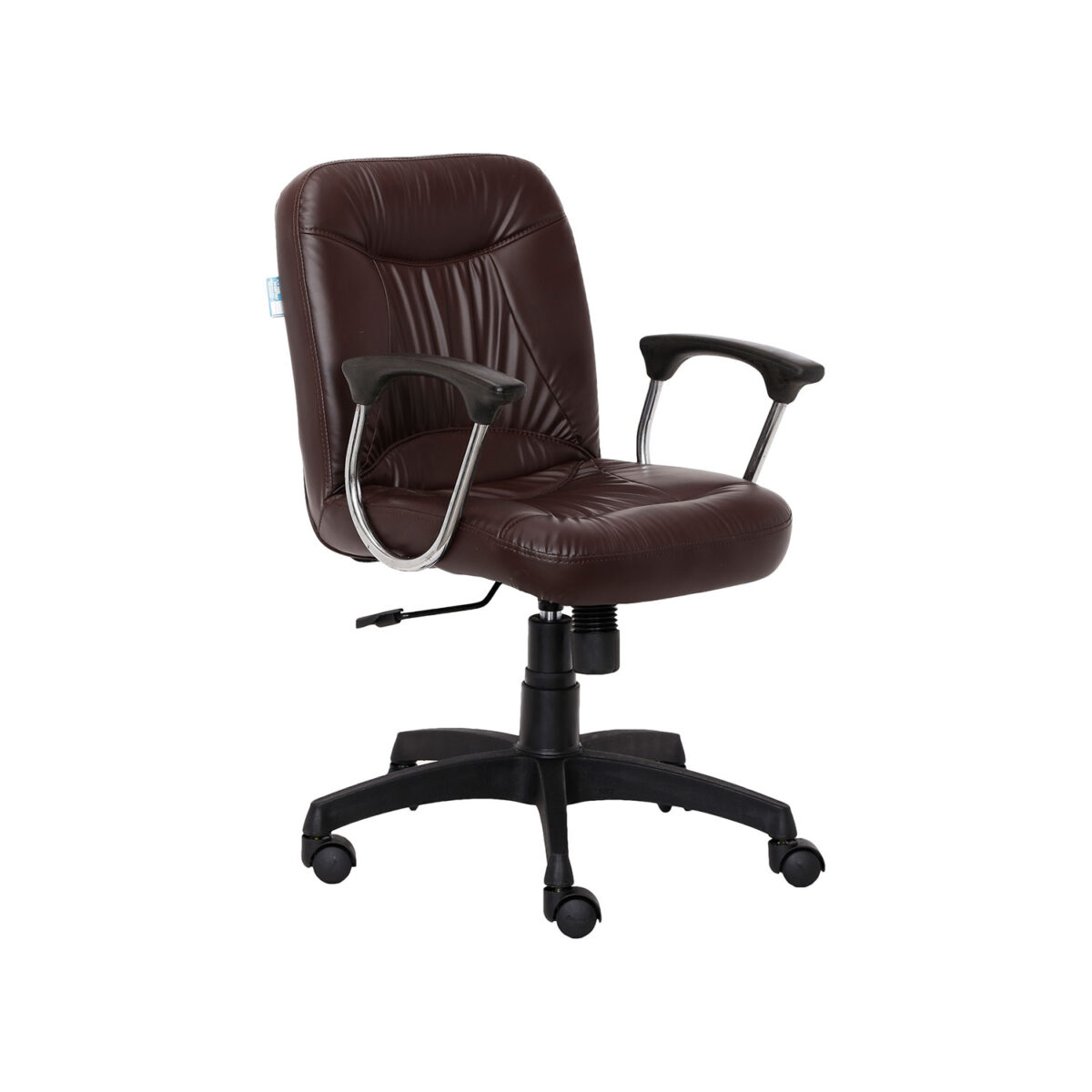 Brown Leather Fabric Office Visitor Chair