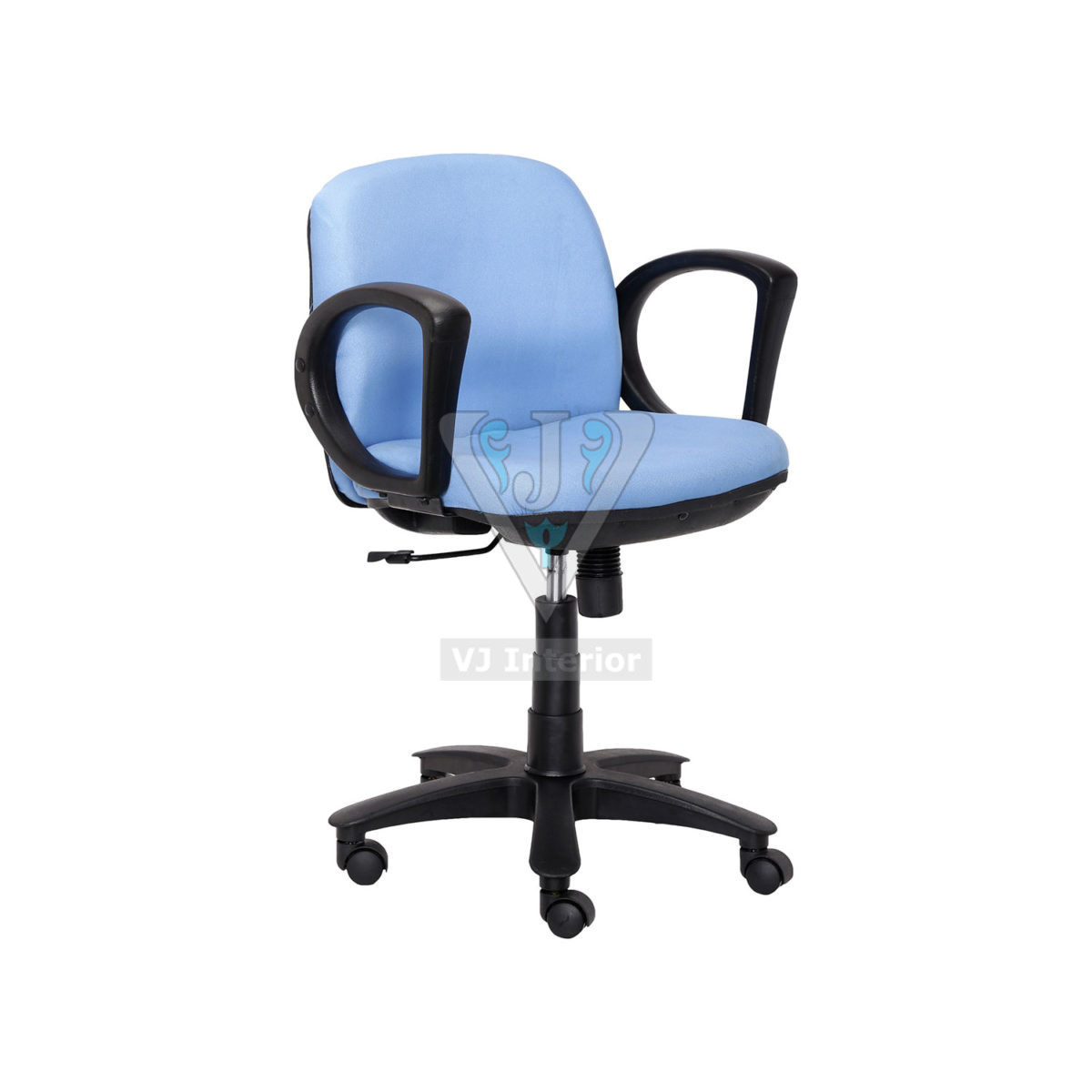 Blue Color Padded Low Back Workstation Fabric Chair