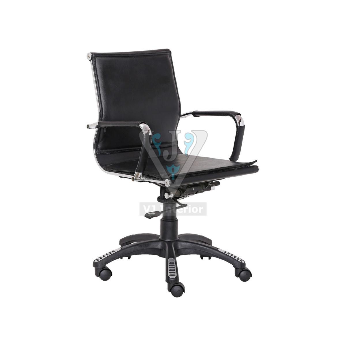 Black Leather Escalera Office Chair Chrome Finish