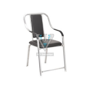 Fixed Frame Visitor Office Chair In Black Color
