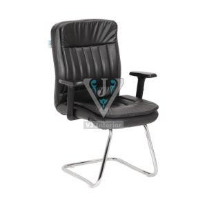 VISITOR CHAIR WITH ADJUSTABLE ARM IN BLACK