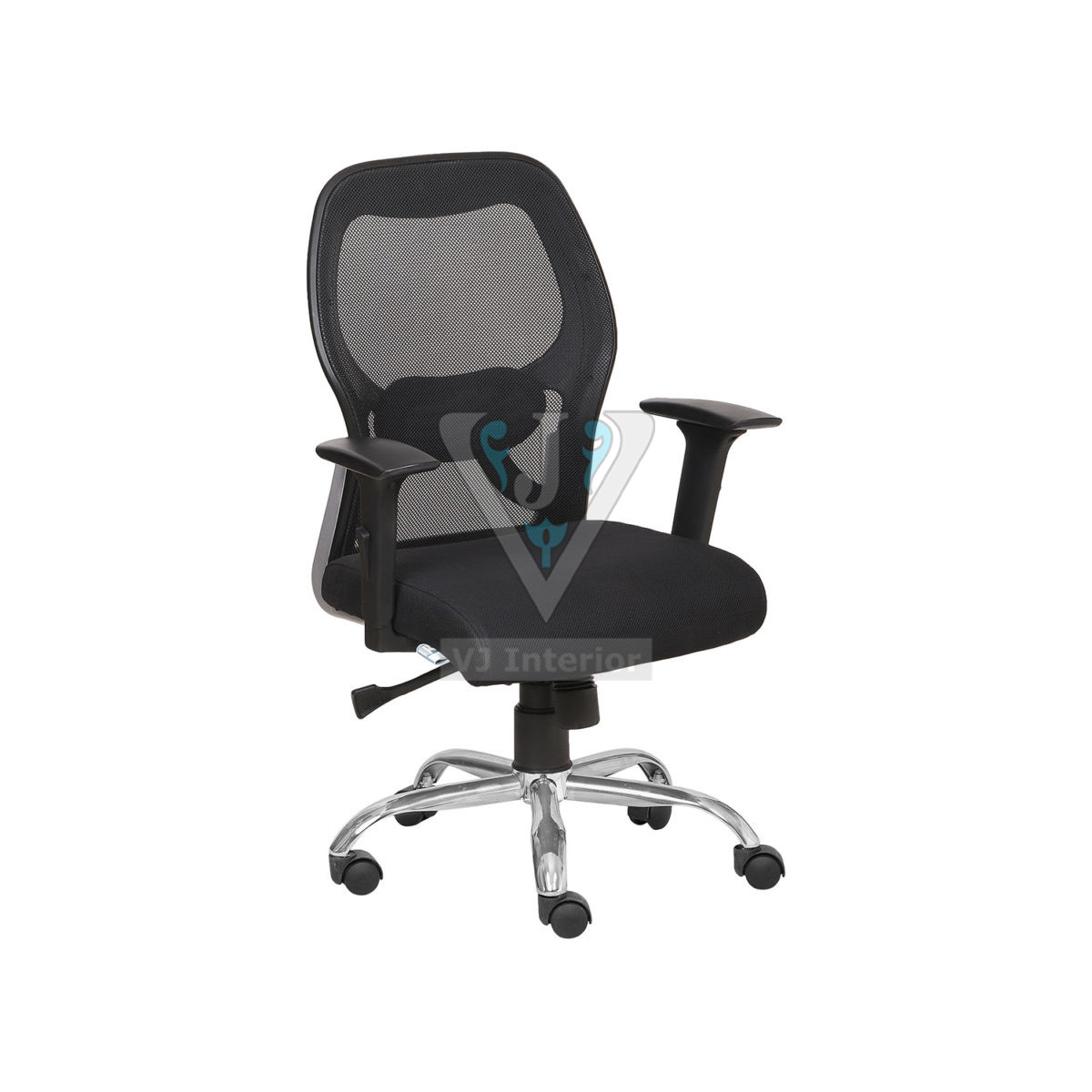 Chrome Wheelbase Mesh Executive Chair In Black Color