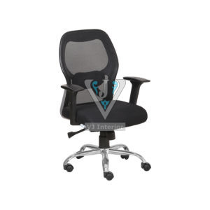 Chrome Wheelbase Mesh Executive Chair In Black Color