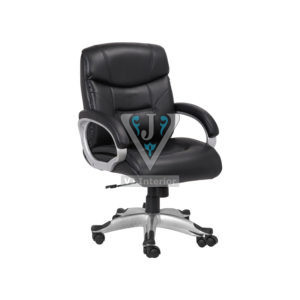 Black Leather Office Executive chair With Double Wheels