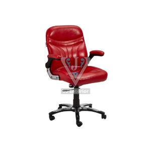 Low Back Leather Office Chair In Cherry Color