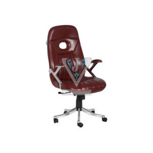 Revolving Executive Office Chair Dark Brown Leather