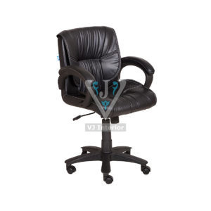 Mid Back Black Leather Revolving Office Chair