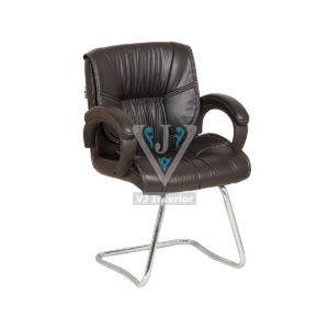 Brown Synthetic Leather Office Visitor Chair