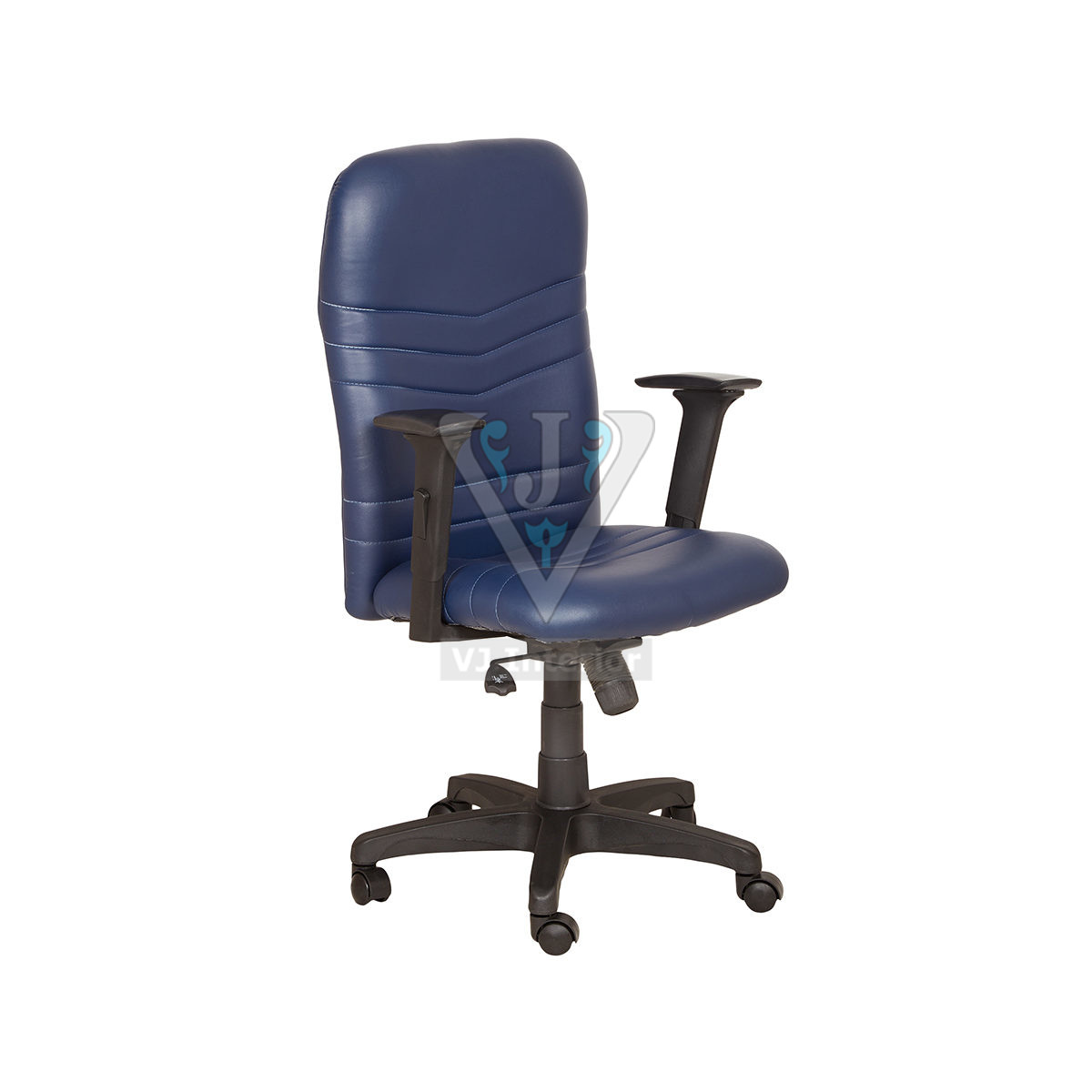 Blue Synthetic Leather Revolving Office Chair