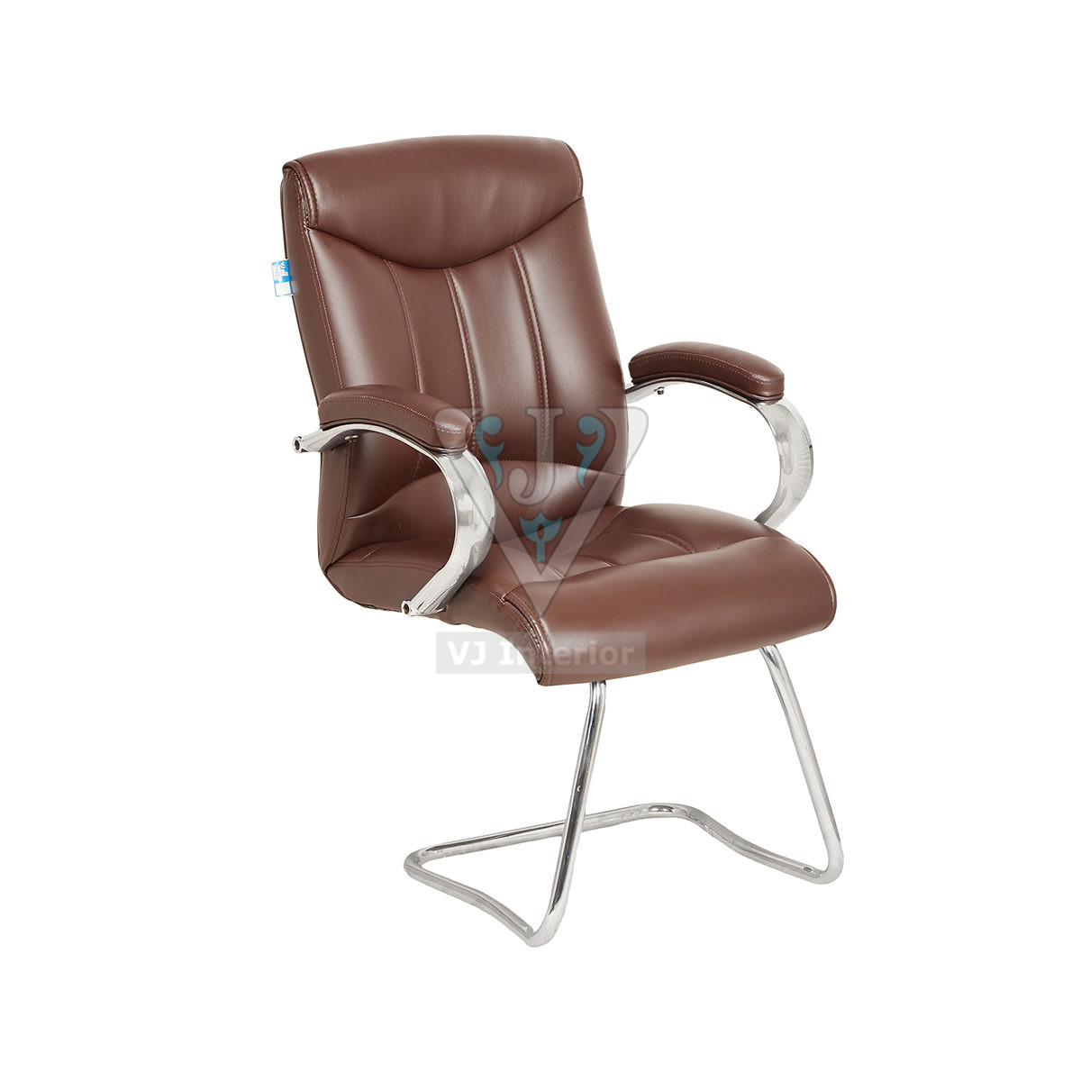 Brown bonded leather Padded Office Visitor Chair