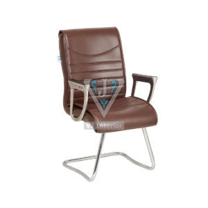 Non Revolving Leatherette Office Chair In Brown Color